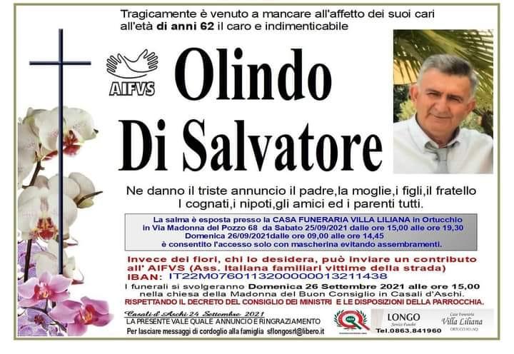 Oggi l'ultimo saluto ad Olindo Di Salvatore