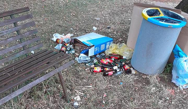 Bottiglie, scatoloni e sporcizia abbandonati lungo la strada a Rosciolo: eppure il secchio c'è