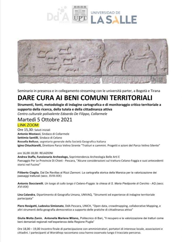 Dare cura ai beni comuni territoriali, a Collarmele seminario internazionale dell'Università D'Annunzio