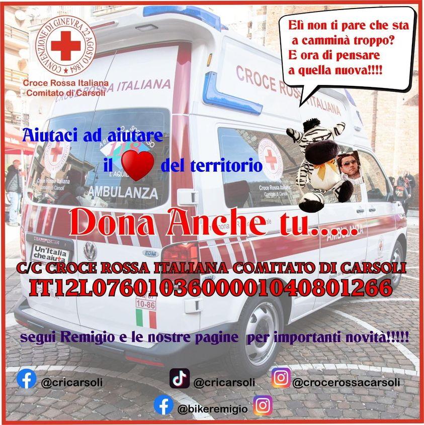 La Croce Rossa di Carsoli raccoglie fondi per l'acquisto di un'ambulanza che sarà intitolata al compianto Eligio Ferrari